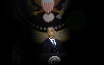 Le président américain Barack Obama pendant son discours d'adieu, à Chicago, le 10 janvier 2017. (Crédit : Joshua Lott/AFP)