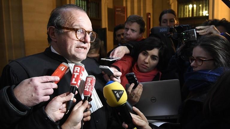 Herve Temime, avocat du marchand d'art franco-américain Guy Wildenstein dans un procès pour fraude fiscale, le 12 janvier 2017. (Crédit : Lionel Bonaventure/AFP)