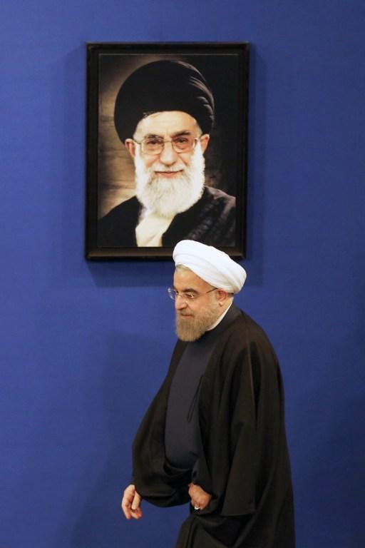 Le président iranien Hassan Rouhani lors d'une conférence de presse à Téhéran, le 17 janvier 2017. (Crédit : Atta Kenare/AFP)