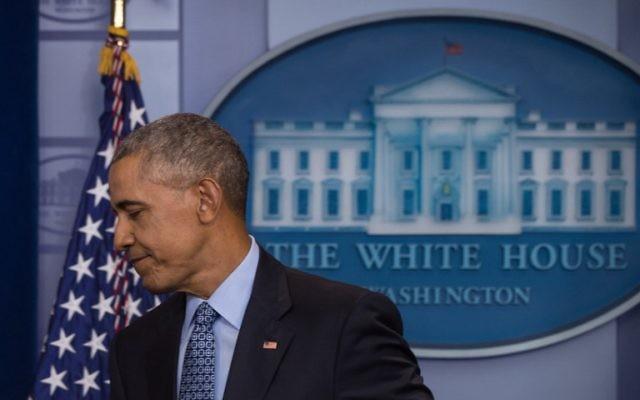 Le président américain Barack Obama après sa dernière conférence de presse présidentielle à la Maison Blanche, le 18 janvier 2017. (Crédit : Nicholas Kamm/AFP)