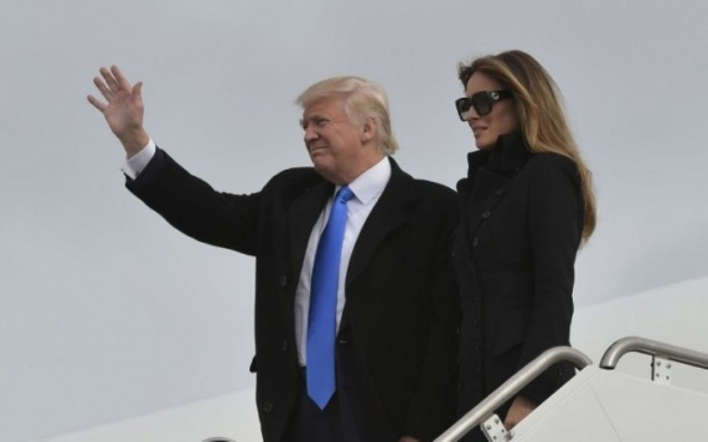 Donald Trump et son épouse Melania, le 20 janvier 2017 (Crédit : AFP/MANDEL NGAN)