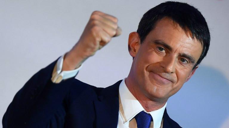 Manuel Valls, candidat à la primaire présidentielle de la gauche française, au premier tour de la primaire, le 22 janvier 2017. (Crédit : Eric Feferberg/AFP)