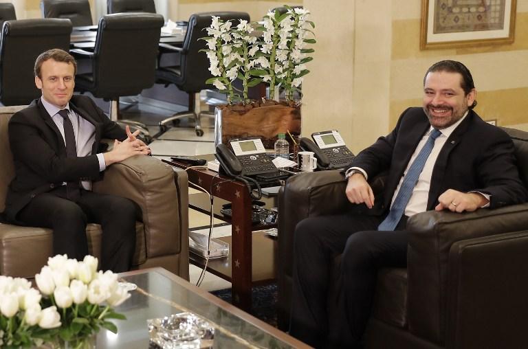 Emmanuel Macron a rencontré le Premier ministre libanais Saad Hariri au Palais du gouvernement à Beyrouth le 24  janvier 2017. Crédit (AFP PHOTO / JOSEPH EID)