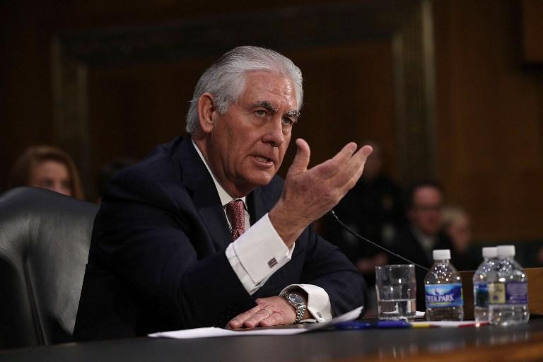 Rex Tillerson, ancien PDG d'ExxonMobil choisi comme secrétaire d'Etat par Donald Trump, devant la commission des Affaires étrangères du Sénat américain, à Washington, D.C., le 11 janvier 2017. (Crédit : Alex Wong/Getty Images/AFP)