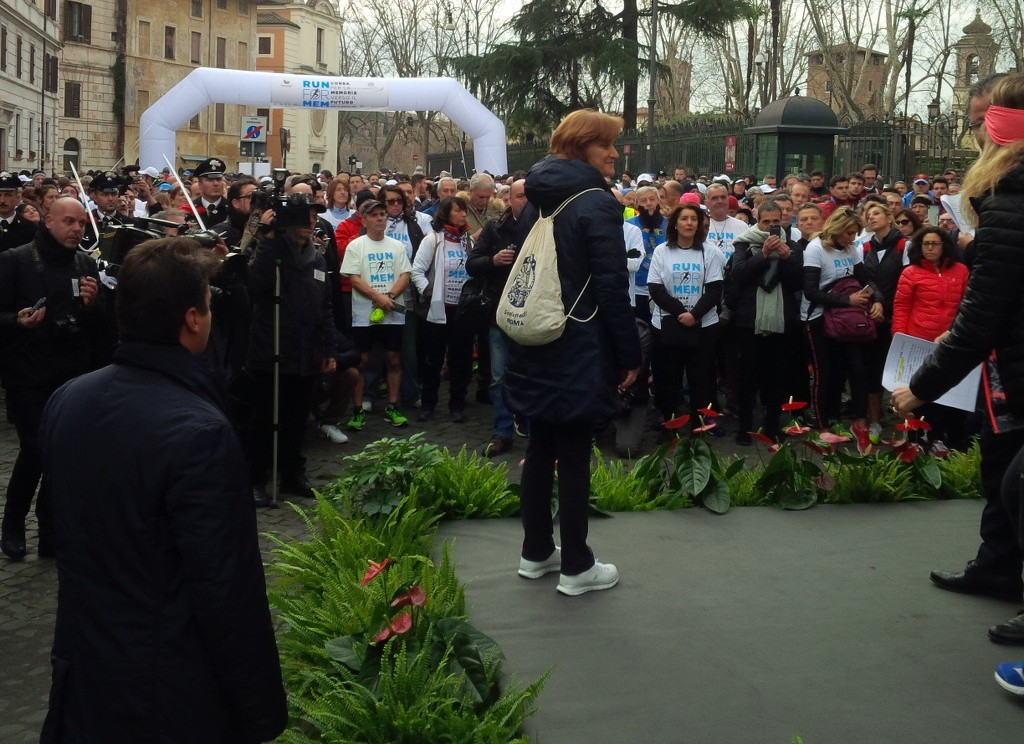 """Les moments qui ont précédé la course """"Courir pour la mémoire"""" à Rome, le 22 janvier (Autorisation : Moked.it/Pagine Ebraiche)"""