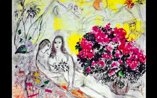 La Flûte enchantée, de Marc Chagall (gouache, crayon de couleur et collage sur papier Japon, 50,2 x 62 cm. Collection particulière. SODRAC & ADAGP 2017 Chagall.  Photo Museum Assciates / KACMA/ capture d'écran musée des Beaux-arts de Montréal)