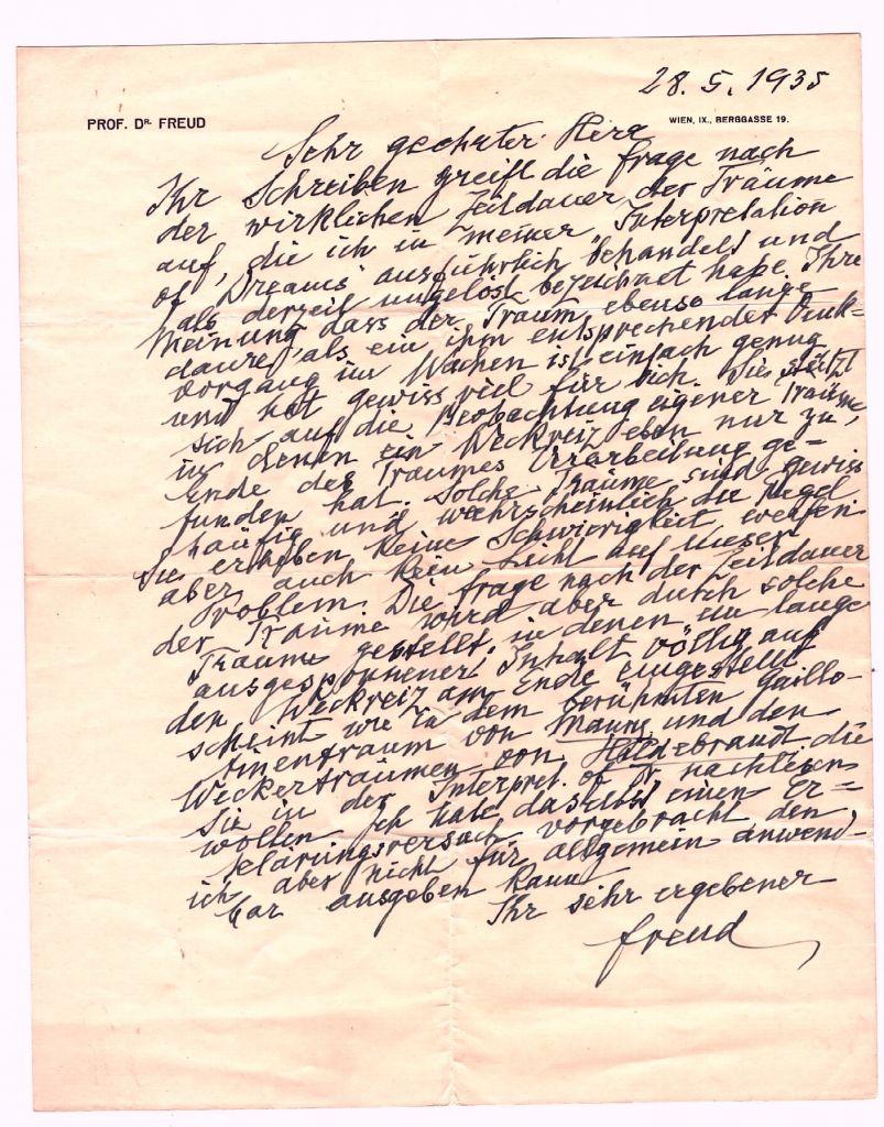 Une lettre signée par Sigmund Freud sur la durée des rêves écrite le 28 mai 1935, qui sera mise aux enchères le 26 janvier 2017  (Crédit : Nate D. Sanders Auctions)