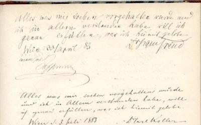 Le serment d'Hippocrate signé par Freud en date du 30 avril 1833, qui sera mise aux enchères le 26 janvier 2017  (Crédit : Nate D. Sanders Auctions)