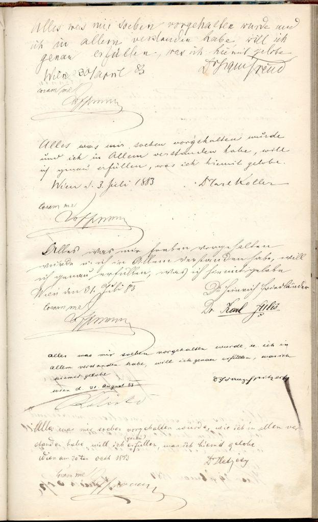Page de signature du serment d'Hippocrate signée par Freud en date du 30 avril 1833, qui sera mise aux enchères le 26 janvier 2017  (Crédit : Nate D. Sanders Auctions)