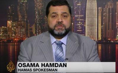 Osama Hamdan s'adresse à  Al Jazeera en août 2014 (Capture d'écran : Youtube)