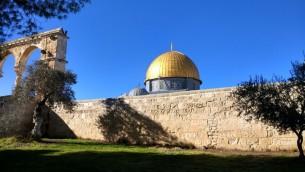 Le Dôme du Rocher de Jérusalem, le 1er janvier 2017. (Crédit : Ilan Ben Zion/Times of Israël)