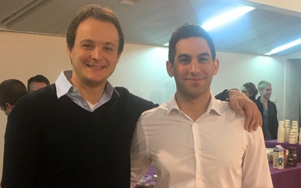 Les fondateurs du Middle East Business Forum à Tel Aviv University, : Jowan Qupty (à droite), 26 ans, résident de Tel Jérusalem et  Jesse Divon (à gauche), 31 ans. Le forum a été lancé le 22 janvier 2017 (Autorisation)