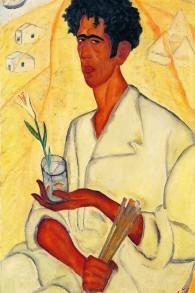 """Un autre autoportrait de Reuven Rubin. Il y porte un lys, reflétant ce que Jésus lui-même avait qualifié de """"lys dans la vallée"""". (Autorisation : Musée d'Israël)"""