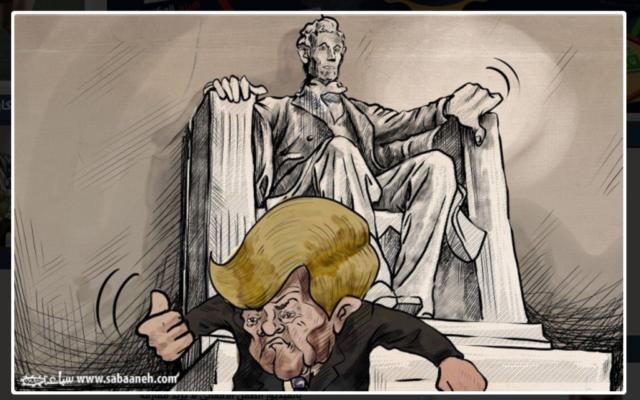 Caricature publié dans le quotidien Al-Hayat, publié le 21 janvier, montrant la statut de Lincoln montrant le pouce en bas zu président américain Donald Trump (Crédit : Capture d'écran du site Web d'Al-Hayat)