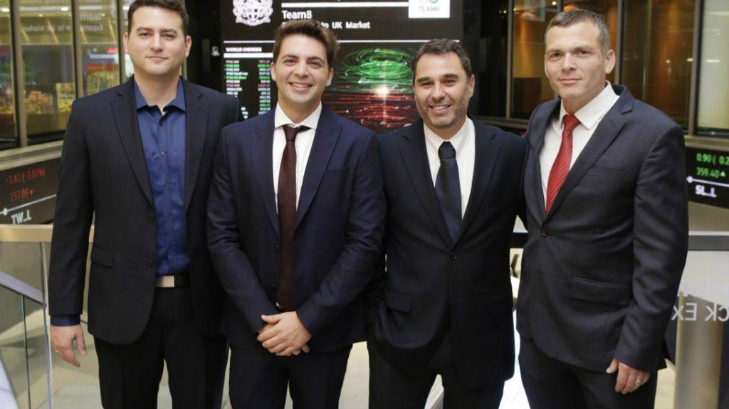 L'entreprise israélienne Team8, dr droite à gauche :  Nadav Zafrir, Israel Grimberg, Liran Grinberg (fondateurs) et  Assaf Mischari, chef de la recherche (Autorisation : Layton Thompson)