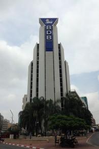 La tour Banc de Binary à Ramat Gan, en 2014. (Crédit : BDBJack/CC BY-SA/Wikipedia)