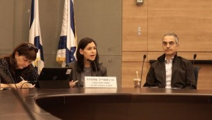 La députée Karin Elharar, présidente de la commission de Contrôle de l'Etat de la Knesset, pendant une session sur la répression de la fraude des options binaires, le 2 janvier 2017. (Crédit : Luke Tress/Times of Israël)