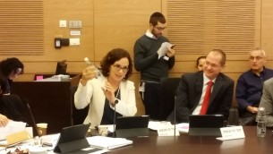 Rachel Azaria, députée de Koulanou, pendant une réunion de la commission de l'Economie de la Knesset, le 16 janvier 2017. (Crédit : autorisation)
