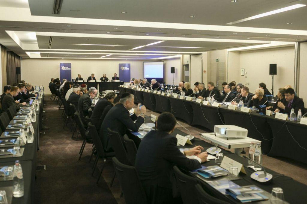 Des représentants des communautés juives européennes pendant la Conférence annuelle des dirigeants juifs de l'Association juive européenne, à Bruxelles, en Belgique, le 23 janvier 2017. (Crédit : Association juive européenne)