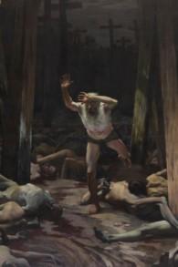 """""""Dans l'ombre de la croix"""" de Samuel Hirszenberg, qui a été exposée à l'entrée de l'école d'art de Bezalel durant de nombreuses années (Autorisation : Musée d'Israël)"""