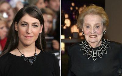 Mayim Bialik, à gauche, et Madeleine Albright ont toutes les deux promis de s'inscrire sur le registre des musulmans américains le 26 janvier 2017. (Crédit : Shutterstock/Getty Images via JTA)