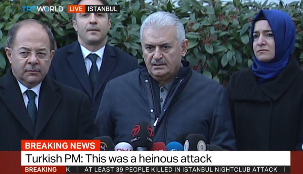 Le Premier ministre turc Binali Yildirim, le 1er janvier 2017. (Crédit : capture d'écran YouTube/TRT World)