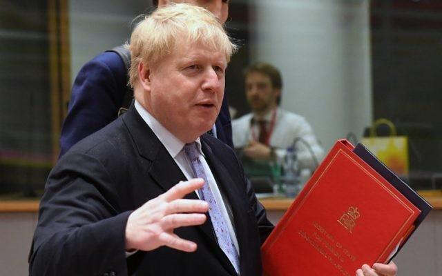 Le ministre des Affaires étrangères britannique Boris Johnson à une réunion des ministres des Affaires étrangères européens au Conseil de l'Europe, à Bruxelles le 16 janvier 2017. (Crédit : Emmanuel Dunand/AFP)