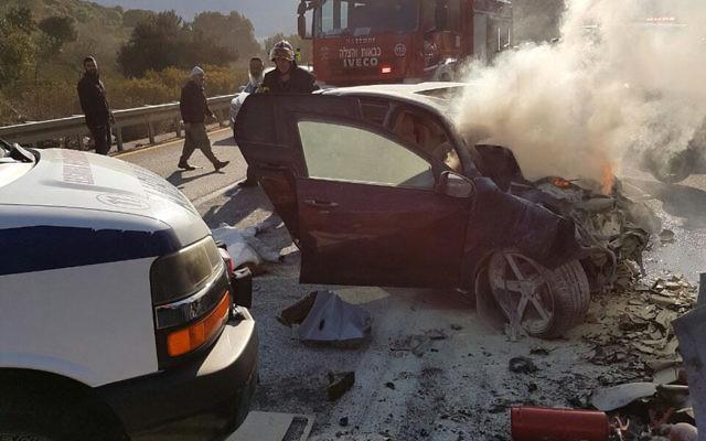 Un accident de voiture près de Safed dans le nord d'Israël, le 23 janvier 2017 (Crédit : Autorisation)