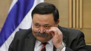 L'ancien co-président du Fonds national juif Eli Aflalo, à la Knesset le 16 mai 2012. (Crédit : Miriam Alster/Flash90)