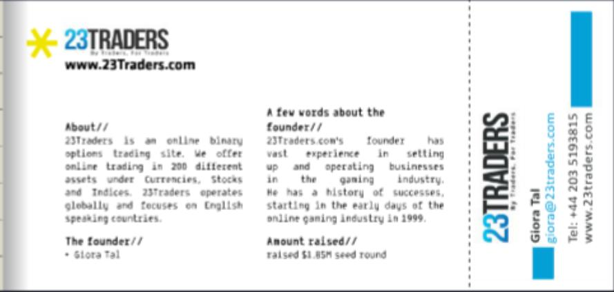 Brochure promotionnelle 2016 du Founders Group. (Crédit : capture d'écran)