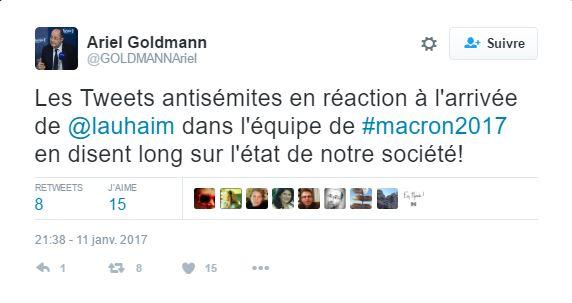 Le président du FSJU s'est ému des tweets antisémites ayant visé Laurence Haïm rejoignant l'équipe Macron (Crédit: Twitter)