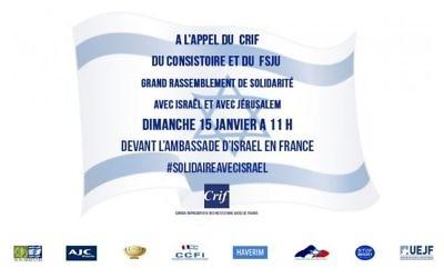 Manifestation de solidarité organisée le  15 janvier, à l'initiative du Crif en soutien à Israël (Crédit:  CRIF)