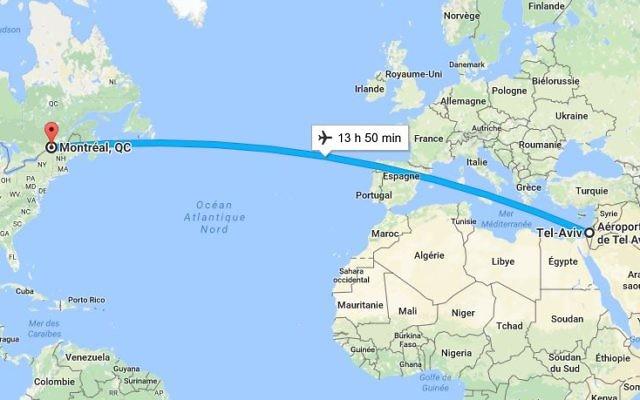 La  compagnie Air Transat reliera désormais Montréal à Tel Aviv durant la saison estivale (Crédit: Google Map)