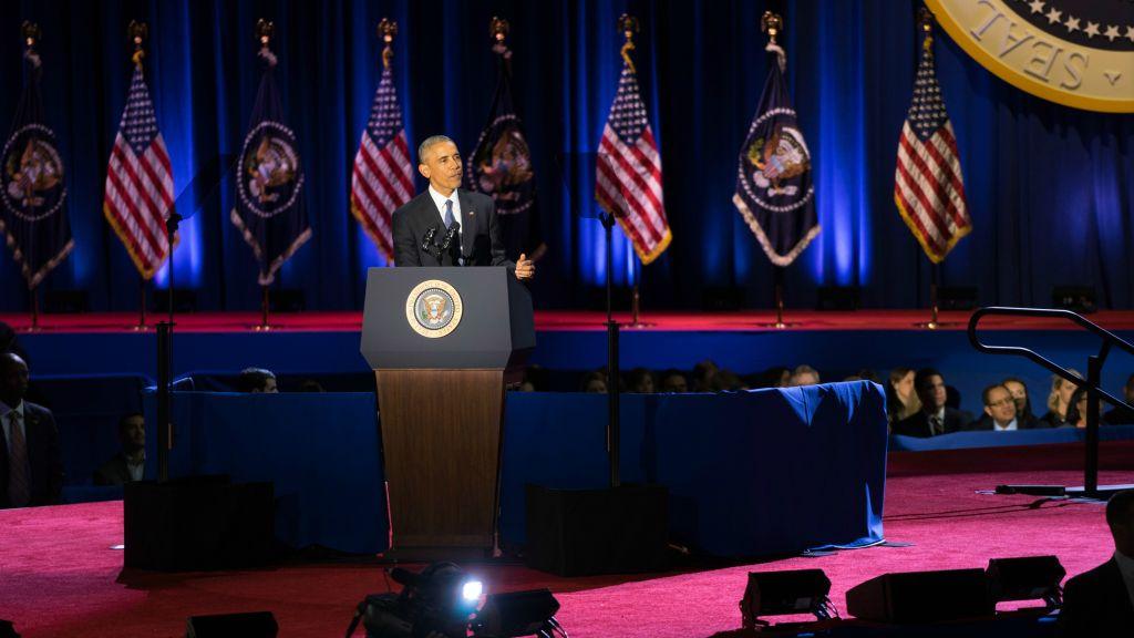 Le président Barack Obama, face à ses sympathisants, délivre son dernier discours à Chicago, le 10 janvier 2017. (Crédit : Ronit Bezalel/Times of Israel)
