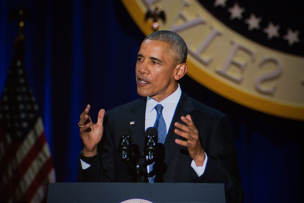 Le président américain Barack Obama pendant son dernier discours présidentiel, à Chicago, le 10 janvier 2017. (Crédit : Ronit Bezalel/Times of Israël)
