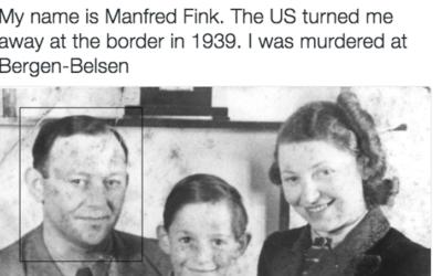 Une image publiée par un compte Twitter qui partage le nom et le destin des réfugiés juifs qui ont été refoulés par les Etats-Unis en 1939 pour marquer la Journée internationale de commémoration de l'Holocauste, en janvier 2017. (Crédit : JTA)