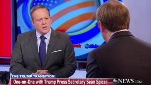Le futur porte-parole de la Maison Blanche Sean Spicer sur le plateau de ABC's 'This Week.', le 1er janvier 2017. (Crédit : capture d'écran)