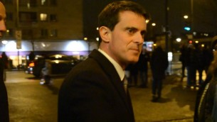 Manuel Valls à la commémoration des victimes de l'Hyper Cacher, le 9 janvier 2017 (Crédit : Brett Kline/Times of Israel)