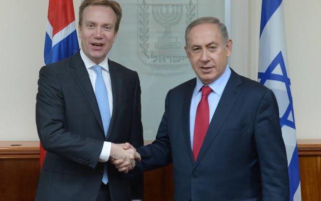 Réunion du Premier ministre Benjamin Netanyahou avec le ministre norvégien des Affaires étrangères Børge Brende à Jérusalem. (Crédit : Amos Ben Gershom GPO)