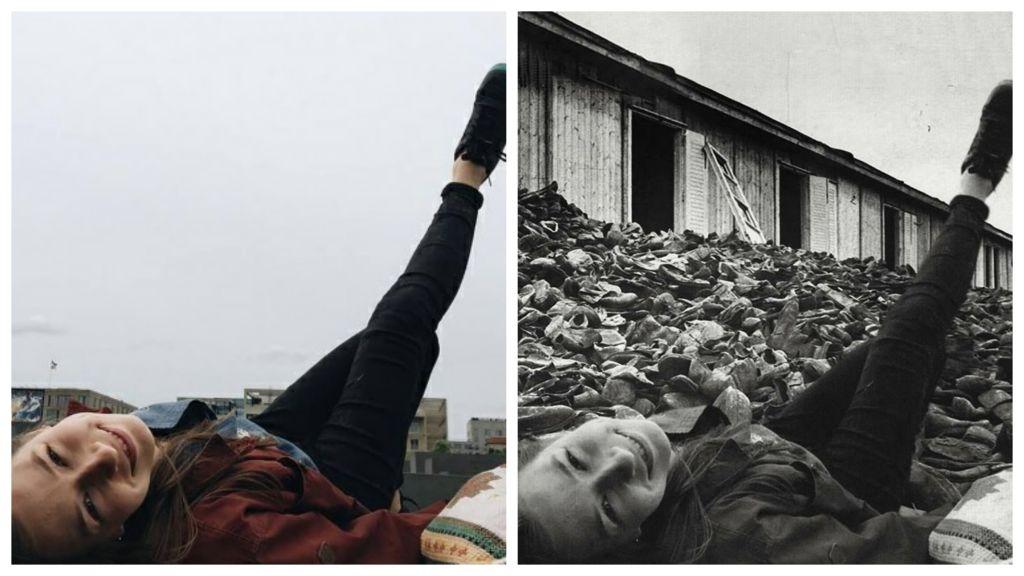 Un montage utilisant deux photos pour le projet holocauste (Crédit : yolocaust / de)