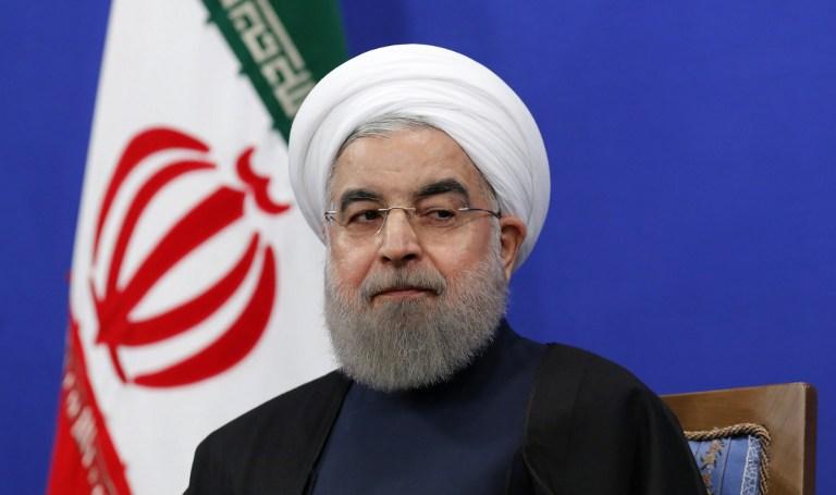 Hassan Rouhani, président iranien, pendant une conférence de presse à Téhéran, le 17 janvier 2017. (Crédit : Atta Kenare/AFP)