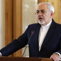 Le ministre iranien des Affaires étrangères Mohammad Javad Zarif lors d'une conférence de presse après avoir rencontré son homologue français à Téhéran, le 31 janvier 2017. (Crédit : Atta Kenare/AFP)