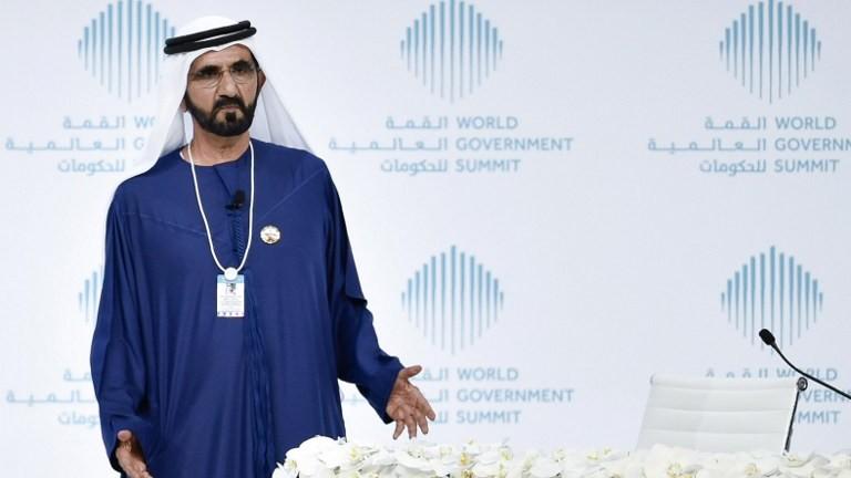 Sheikh Mohammed bin Rashid al-Maktoum, vice-président et premier ministre des Emirats arabes unis et souverain de Dubaï, lors d'une session spéciale au Sommet mondial du gouvernement 2017, à Dubaï le 12 février 2017 (Crédit : AFP / Stringer)