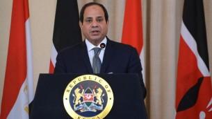 Le président égyptien Abdel Fattah el-Sissi pendant une conférence de presse à Nairobi, le 18 février 2017. (Crédit : Simon Maina/AFP)