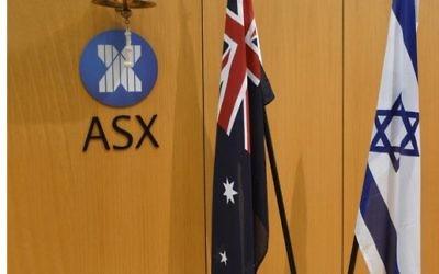 Les drapeaux israélien et australien à l'Australian Securities Exchange (Crédit :  autorisation)