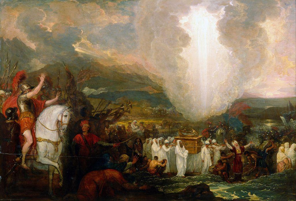 Josué passant la rivière du Jourdain avec l'arche d'alliance, par Benjamin West, 1800 (Crédit : Wikipedia)