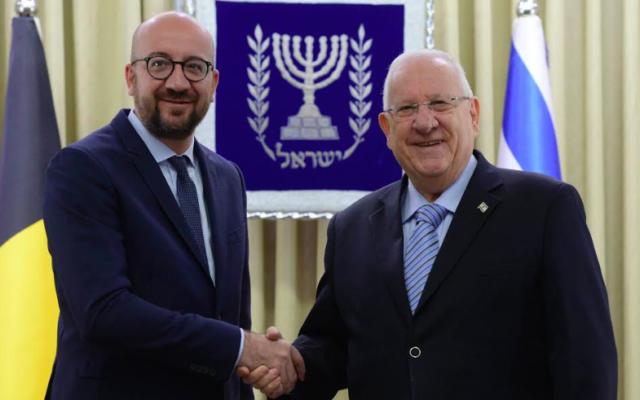 Charles Michel et Reuven Rivlin, à Jérusalem, le 6 février 2017 (Crédit : Mark Neiman/GPO)