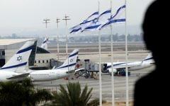 Des avions d'El Al sur le tarmac de l'aéroport international Ben Gurion, en avril 2013. Illustration. (Crédit : Flash90)