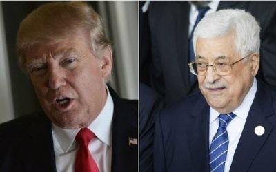 Le président américain Donald Trump, le 3 février 2017 (à gauche), et le président de l'Autorité palestinienne Mahmoud Abbas, le 30 janvier 2017. (Crédits :  Mandel Ngan/AFP ; Zacharias Abubeker/AFP)