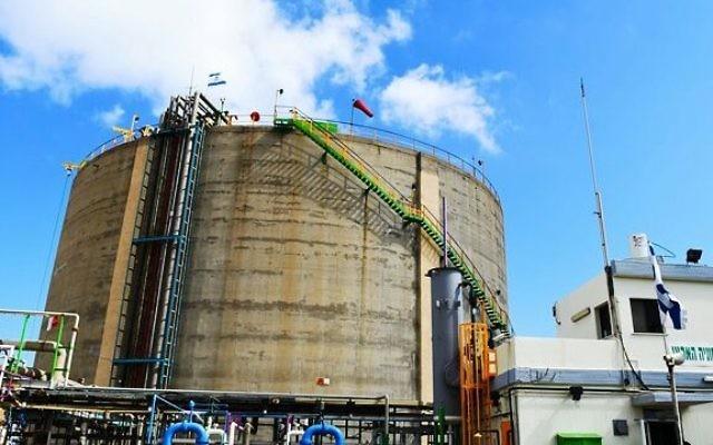 Le réservoir d'ammoniac de Haïfa. (Crédit : ministère de l'Environnement)